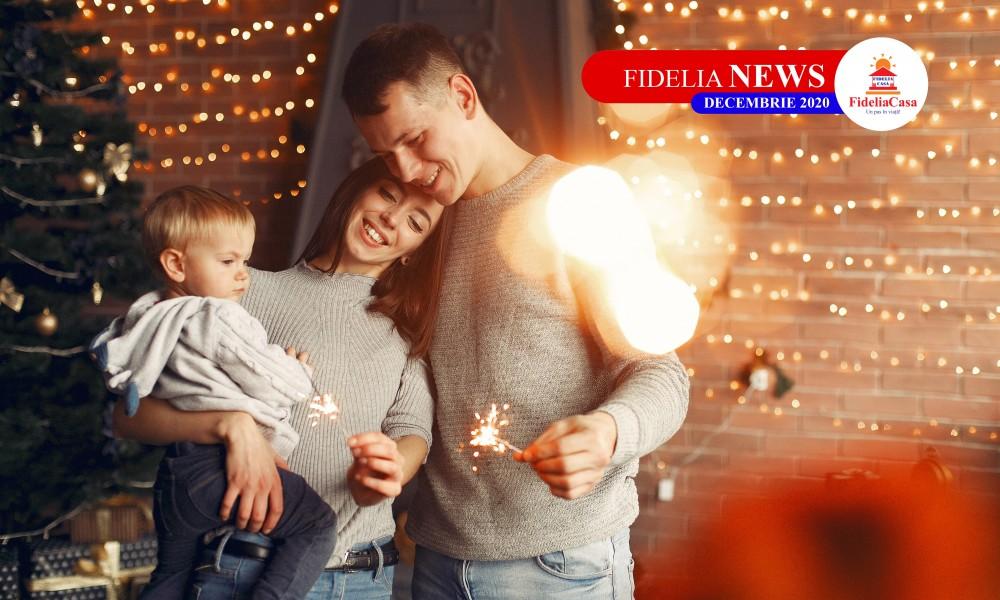 Family at home near christmas tree